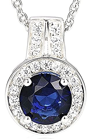 SaySure - Silver Pendant Chain for Women Round Blue Crystal