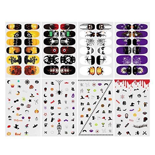 ETEREAUTY Nagelsticker leuchtende Nail Sticker mit Halloween Designs, 8 Blätter
