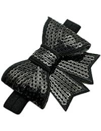Farbband Bogen Stirnbaender - SODIAL(R)Baby Maedchen Stirnbaender Handgefertigt Pailletten Farbband Bogen Haarband (schwarz)