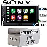 Audi A3 8P 2-DIN AKTIV - Autoradio Radio Sony XAV-AX1000-2DIN Bluetooth   Apple CarPlay   USB - Einbauzubehör - Einbauset