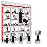 POWRX Kurzhanteln 2er Set inkl. Workout | Hantelset Chrom mit Schaumstoffgriff | 5 Gewichtsvarianten 1kg 3kg 5kg 7kg 10kg | Kurzhantel-Set für Fitness-Übungen (Komplettes Set)