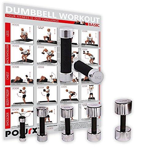 POWRX Kurzhanteln 2er Set inkl. Workout | Hantelset Chrom mit Schaumstoffgriff | 5 Gewichtsvarianten 1kg 3kg 5kg 7kg 10kg | Kurzhantel-Set für Fitness-Übungen (Komplettes Set) (Kurzhantel-set Chrom -)