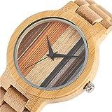 Mode Holz Uhr MäNnlichen EuropäIschen Stil Zifferblatt Holzband Quarz Armbanduhr Japanischen Bewegung Bambus Herrenuhr