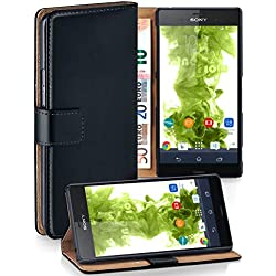 MoEx® Étui Folio à Support vidéo Compatible Sony Xperia Z3 Compact | Fente pour Argent/Cartes, Noir