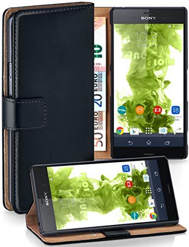 MoEx® Booklet mit Flip Funktion [360 Grad Voll-Schutz] für Sony Xperia Z3 | Geldfach und Kartenfach + Stand-Funktion und Magnet-Verschluss, Schwarz