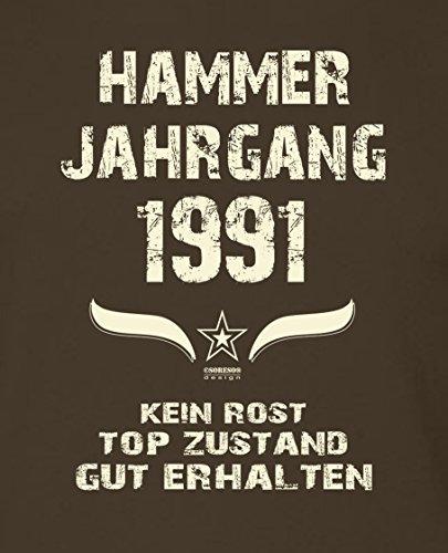 Modisches 26. Jahre Fun T-Shirt zum Männer-Geburtstag Hammer Jahrgang 1991 Ideale Geschenkidee zum Jubeltag Farbe: braun Braun