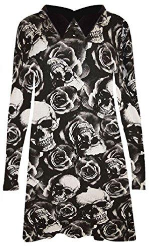 New Frauen Skull Rose Print Peter Pan Kragen Swing Ausgestellte Kleid Top UK Größe 8�?6 black collar