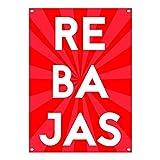 Lona Rebajas | Cartel de 'Rebajas' | Cartel Publicitario Rebajas (50x70cm) con Ojales Metálicos