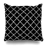 Klotr Housses De Coussins Creative Simple Black White Arabic Geometric Quatrefoil...
