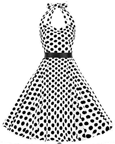 Neckholder Vintage Retro Rockabilly Cocktail Party Kleider White Black BDot XL (Bunny Kostüme Für Frauen)