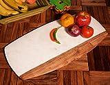 hashcart Wunderschöner Holz & Marmor Kombination Schneidebrett, Chopper, Schneidebrett   für Brot, Obst, Gemüse Fleisch und Käse Serviertablett