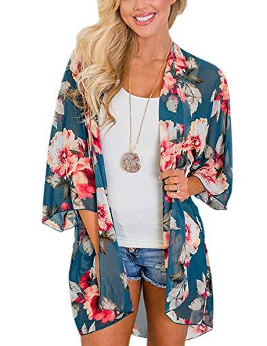 Zexxxy Frauen Flowy Schiere Ernte Lose Chiffon-Kimono-Strickjacke Bluse Oben Blau,XL - Schiere Kimono Top