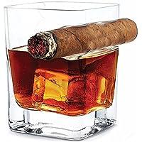 Whisky-Glas mit Zigarren-Halter, Old Fashion Wein Bourbon Brandy Beer Liquor Cup 14 OZ 320ml Hand-frei für Zigarre Zigarette Liebhaber für Haus und Bar, Wein Geschenke