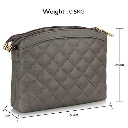 LeahWard® Genuine Umhängetasche Damen Essener Kunstleder Taschen Qualität Mode Essener nett Groß Handtaschen Grau Weiß Quilted Taschen