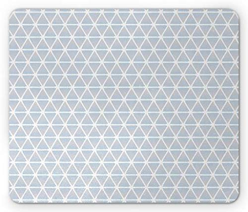 WYICPLO Blue Mouse Pad, Geometric Forms Triangles Diagonal White Lines Artful Classic Motif Design, Standard Size Rectangle Non-Slip Rubber Mousepad, Pale Blue and White - 48 Triangle Form