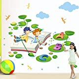 CXXZICASD Kindergarten English Corner Niños Que aprenden inglés Curso de inglés Libro de Lectura Little Man Lotus Leaf ABC Etiqueta de la Pared Etiqueta