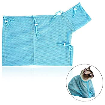 LHKJ Sac Toilettage Chat Cat Grooming Bag Sac Lavage Animal de Compagnie Maille Filet Sachet de Bain Nettoyage Retenue Sac (Bleu)