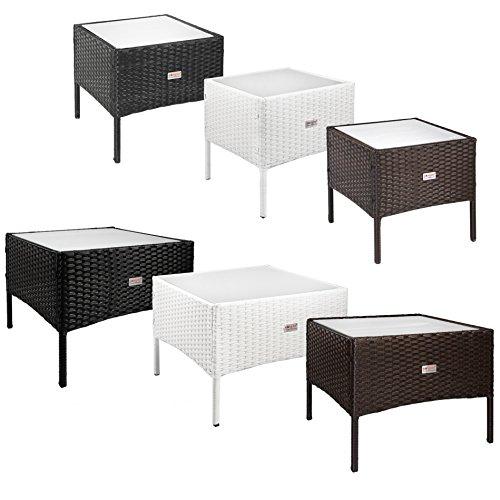 ESTEXO® Beistelltische aus Polyrattan, Teetisch, Garten, Rattan, Tisch, Gartenmöbel (50x50x40 cm, Weiß) - Weiße Outdoor-beistelltisch