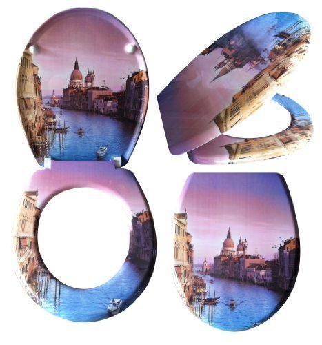 Preisvergleich Produktbild WC Sitz mit Absenkautomatik Venedig Toilettendeckel Toilettensitz 0259