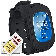 TKSTAR Reloj Inteligente Niños,Pulsera Inteligente,Pulsera Deportiva Inteligente,Reloj para Niños, Reloj Infantil Pulsera Inteligente Localizador Compatible con Smartphones, Niños SmartWatch GPS,Smartwatch Niños Reloj Inteligente Mujer y Hombre,Reloj para Niños con GPS Niños 2 Way llamadas SOS GPS inteligente reloj pedómetro SOS seguimiento en tiempo real de padres de control de iOs y Android APP Q50 (Negro)