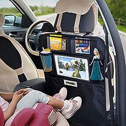aomaso Kick Mats 2-Pack con organizador con bolsillos, respaldo de asiento fundas para asientos de coche, SUV, camioneta o camión, Auto accesorios y protector de pantalla para niños