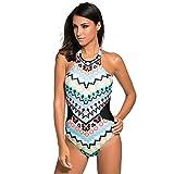 Loisirs et coloré tribal imprimer maillot de bain une pièce col roulé des collants backless XL,L