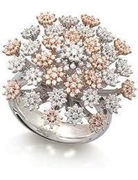 Marguerites Bague Femme en Or 18 carats Blanc/Rose avec Diamant H/SI (total diamants 1.48 ct)