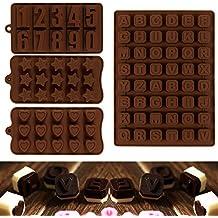 JPSOR 4 Moldes de Chocolate,Moldes de Letras y Numeros Para Chocolate, Moldes de Silicona Para Caramelos Dulce en Forma de Número, Letra, Corazón y Estrella