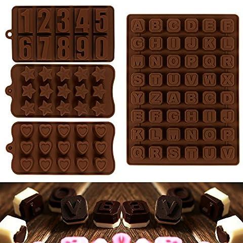 JPSOR 4PCS Moules à chocolat, Moules à chocolat de lettres numériques, Moules à biscuits, Moules à silicone, Moules à glace, Moules à savon, Moules à bicarbonate de silicium en forme de nombre, de lettre, de coeur et
