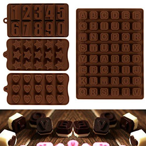 JPSOR 4 Stück Schokolade Formen, Pralinenform, Zahlen, Stabenbuch Schokolade Formen, Silikon Form, Eis Form, Seife Form, Silikon Backenform Zahlenform, Stabenbuch Form, Herzform