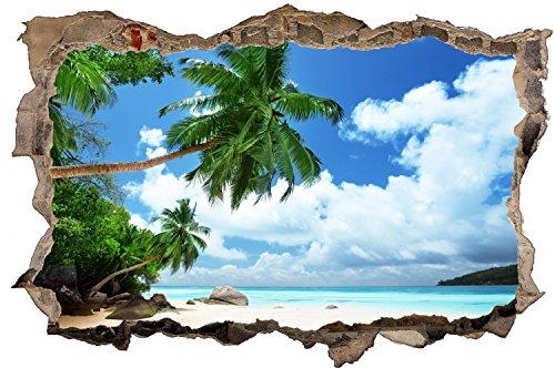 Karibik Strand Meer Palmen Urlaub Wandtattoo Wandsticker Wandaufkleber D0325 Größe 70 cm x 110 cm