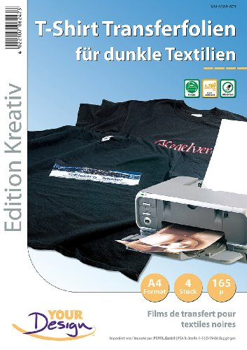 Your Design T Shirt Folie: 4 T-Shirt Transferfolien für bunte Textilien A4 Inkjet (T Shirt Druck Folien)
