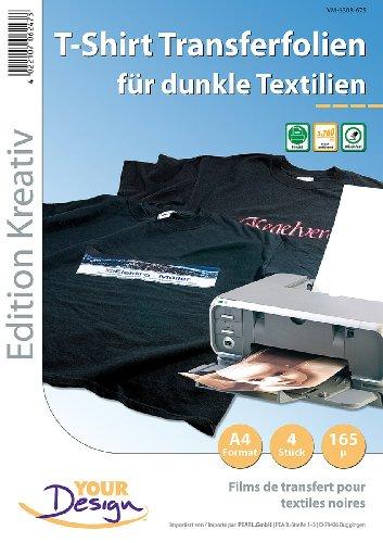 Your Design Bügelfolie: 4 T-Shirt Transferfolien für bunte Textilien A4 Inkjet (T Shirt Druck Folien)