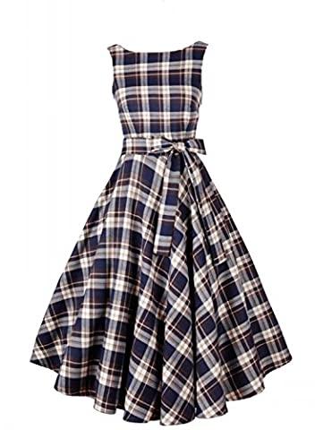 Sparkling YXB Womens Retro Rockabilly Sleeveless Vintage Bow Tartan Check Swing Party Tea Dress Coffee