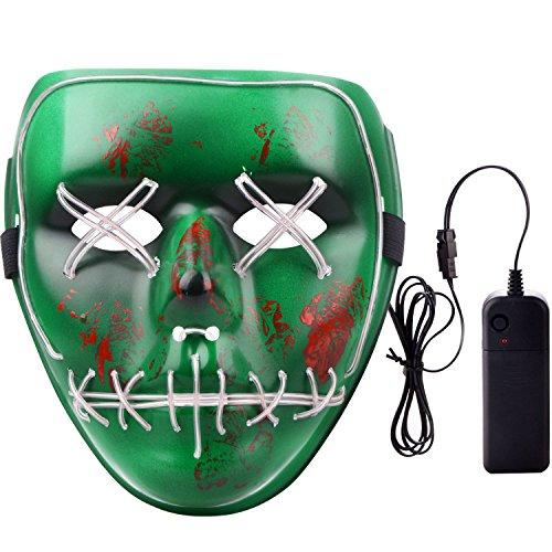 (Takefuns Scary Maske Halloween Cosplay Licht LED Kostüm Maske EL Draht bis Maske Festival Parteien, Plastik, Green-Brown, 7.3 x 6.5 x 1.5 inches)