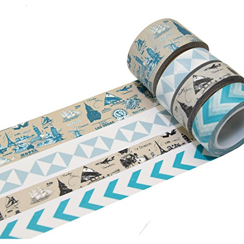 K-LIMIT 4er Set Washi Tape Dekoband Masking Tape Klebeband Scrapbooking Reise Travel 9838