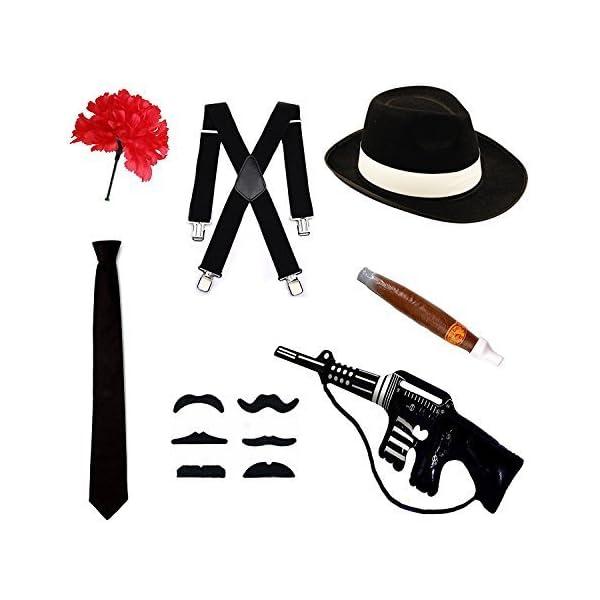 chaussures de tempérament qualité sélection spéciale de Robelli Ensemble de déguisement de gangster - Chapeau, cravate, Bretelles,  cigare, moustache et d'œillet