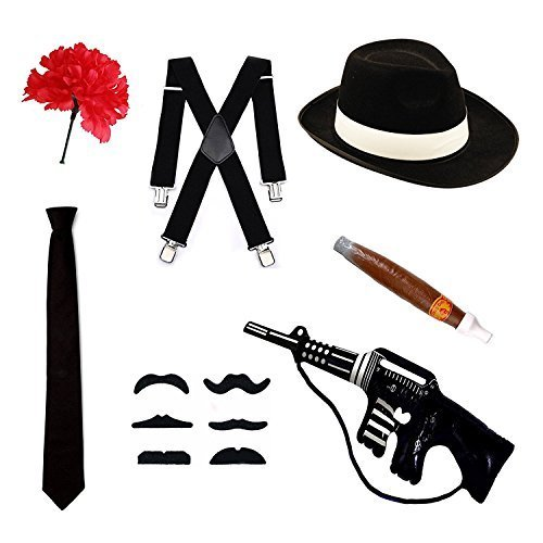 Gangster Fancy Dress-Set cappello tipo Trilby bretelle, cravatta, sigaro e baffi & garofano