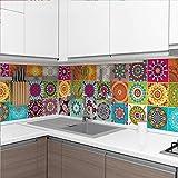60 Stickers adhésifs carrelages | Sticker Autocollant Carreaux de ciment - Mosaïque carrelage mural salle de bain et cuisine | Carreaux de ciment adhésif mural - azulejos - 10 x 10 cm - 60 pièces