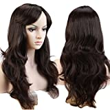 "S-noilite Sexy Lady Full Wig 19"" Curly Dark Brown Hair Wig Natural Color Daily Dress"