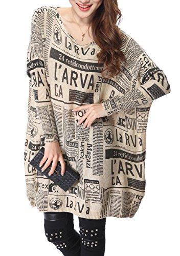 ELLAZHU Femme Pull Robe Tricot Lâche Imprimé Journal Taille Unique SZ25 Beige