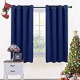 PONY DANCE Blickdichte Vorhänge mit Ösen - Dunkel Blau Gardinen Thermovorhang für Junge Schlafzimmer Dekoschals Vorhänge Winddicht, 2 Stücke H 137 cm x B 116 cm