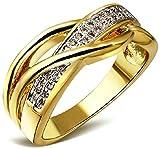 Damen-Ring 18K Weißgold Vergoldet Weiß Zirkonia Österreichen Kristall Straß Eheringe Stapelring Farbe Gold für Frauen, AnaZoz Schmuck