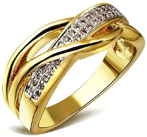 ANAZOZ Damen-Ring 18K Weißgold Vergoldet Weiß Zirkonia Österreichen Kristall Straß Eheringe Stapelring Farbe Gold für Frauen, Schmuck