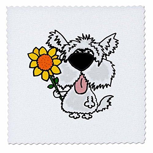rt Speisen und Getränke-Funny Weiß Shaggy Hund halten Sonnenblume-Quilt Squares ()