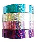 MegaCrea DIY Rubans adhésif Holographique 1 cm 4 pièces