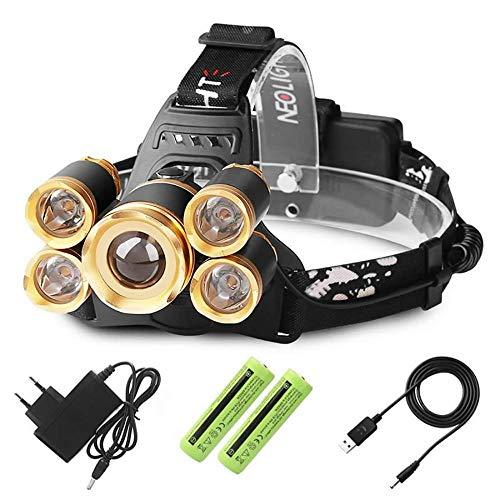 LED Stirnlampe USB-Ladekabel Batterie, Kopflampe USB LED Lenser Stirnlampe mit 3 Lichtmodi LED Headlight Taschenlampe Perfekt fürs Laufen, Joggen, Angeln, Campen, für Kinder und mehr