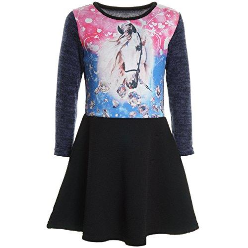 BEZLIT Mädchen Kinder Spitze Winter Kleid Peticoat Fest Kleider Lang Arm Kostüm 20922 Blau Größe 128