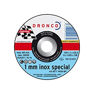 DRONCO as 60 T-Inox – Pack of 15 Cutting Disc, 115 mm x 1 mm