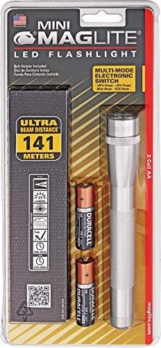 Mag-Lite SP2210H Mini Maglite 2AA Multimode Hochleistungs-LED-Taschenlampe, 17 cm silber inkl. 2 Mignon-Batterien und Nylonholster